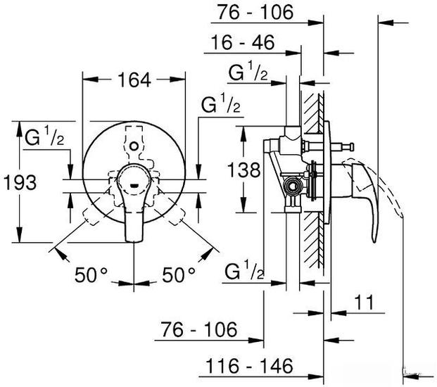 Комплект смесителя и душевой системы Grohe Eurosmart 124440