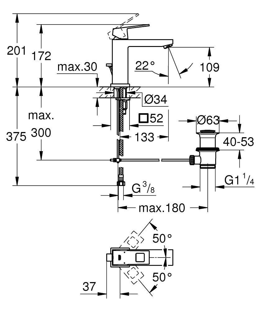 Смеситель для раковины Grohe Eurocube 23445000