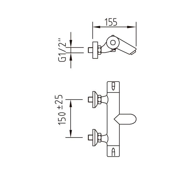 Термостатический смеситель для ванны и душа Clever Nine Urban
