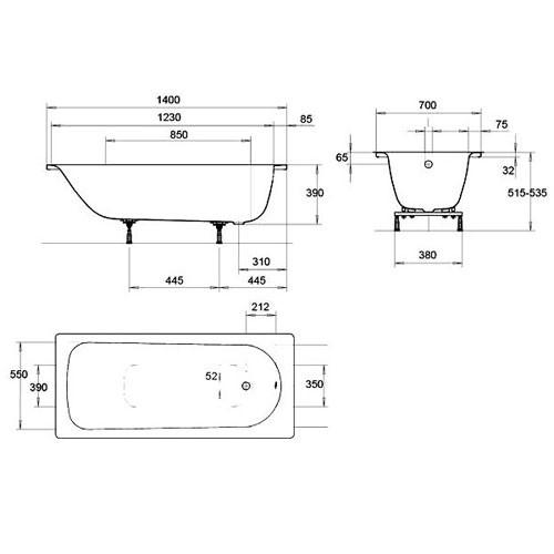 Стальная ванна Kaldewei Eurowa 140x70 119512030001