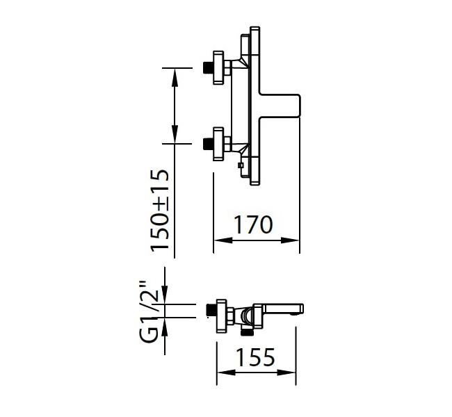 Термостатический смеситель для ванны и душа Clever Nine Xtreme