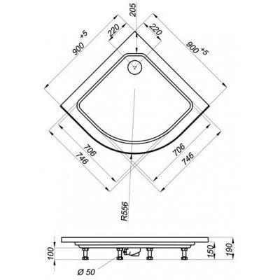 Душевой уголок Triton Стандарт А 90x90 (полосы)