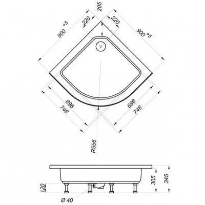 Душевой уголок Triton Рио 1 (с сифоном) 90x90