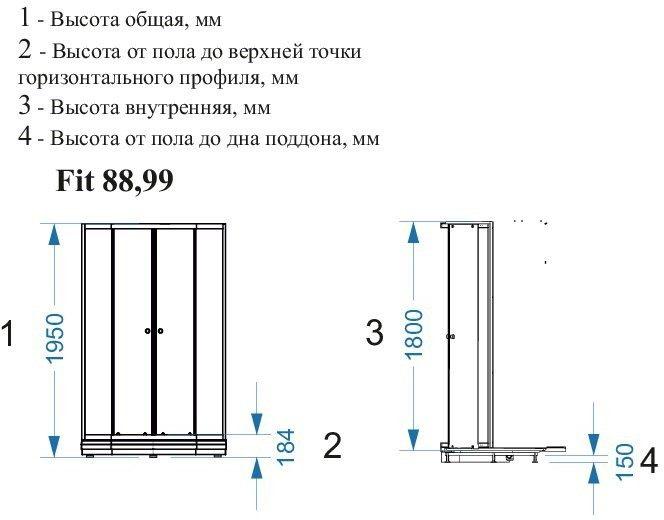 Душевой уголок Domani-Spa Fit 99 90x90 (прозрачное стекло) с поддоном