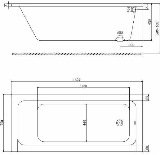 Ванна акриловая Kolo Modo 160x70 боковой слив XWP1160000