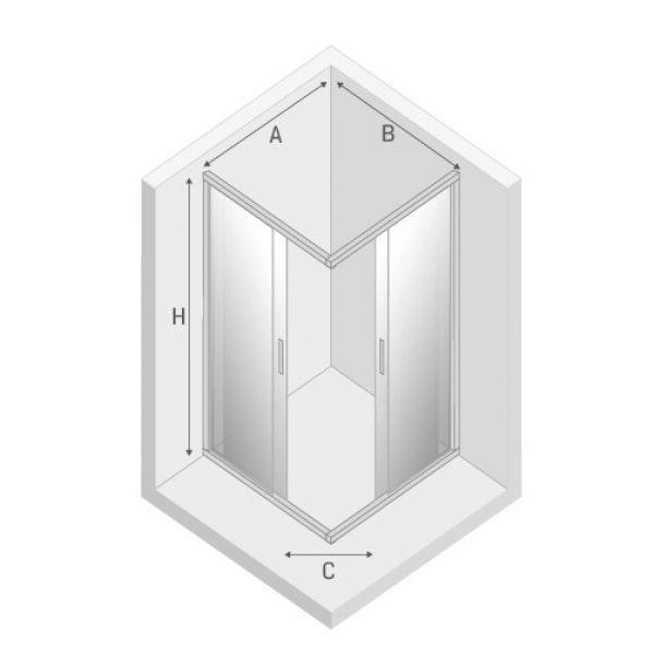Душевой уголок New Trendy FERIA 90x90x185 квадратный