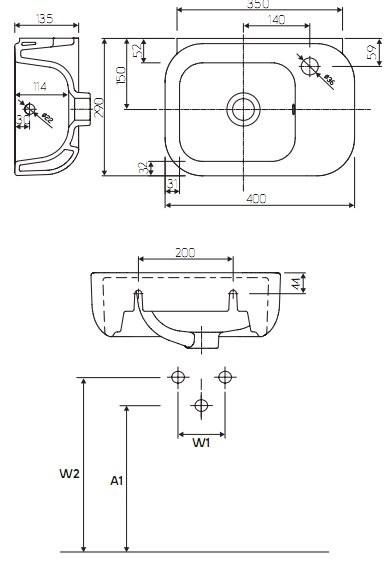 Умывальник Kolo EGO Reflex 40 с отверстием с правой стороны