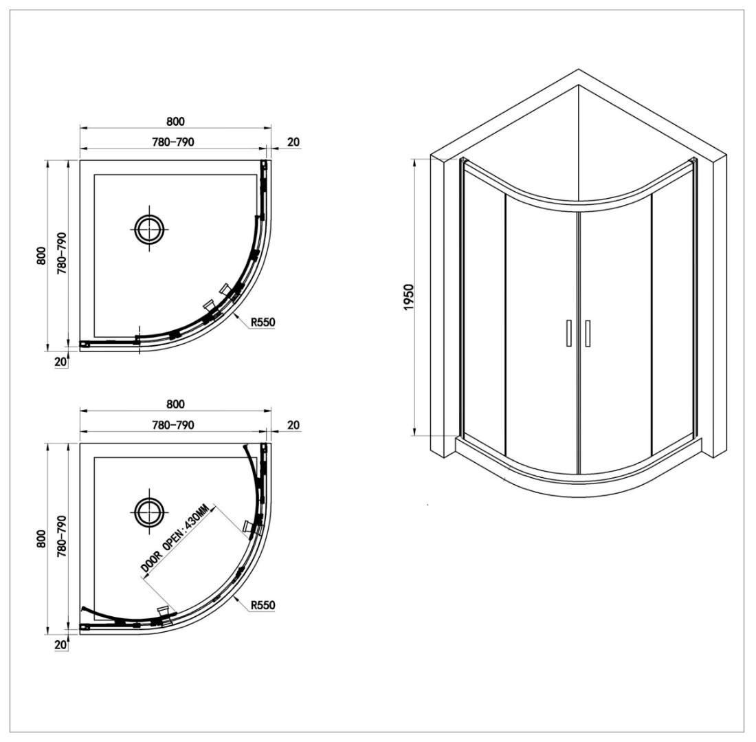 Душевой уголок Adema Glass Line 80 прозрачное стекло