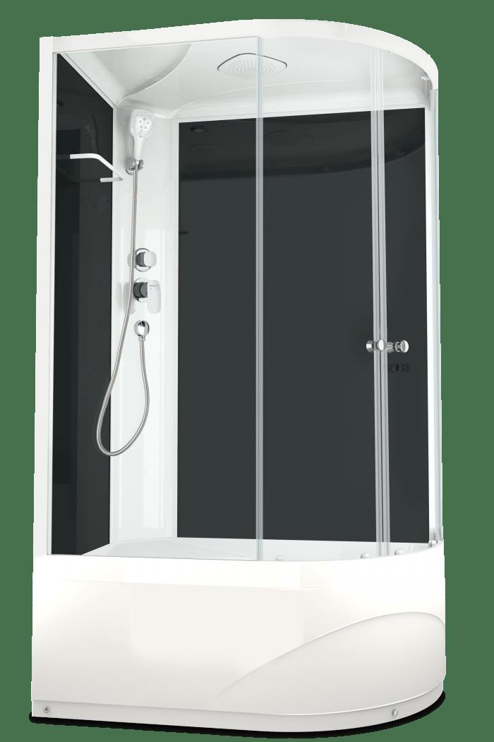 Душевая кабина Domani-Spa Delight 128 high L 120x80 стекло прозрачное / черные стенки
