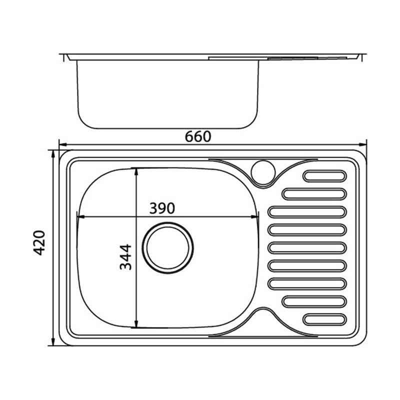 Мойка врезная 42x66 (0,6) лев вып 3 1/2 MIXLINE 16 см с сифоном