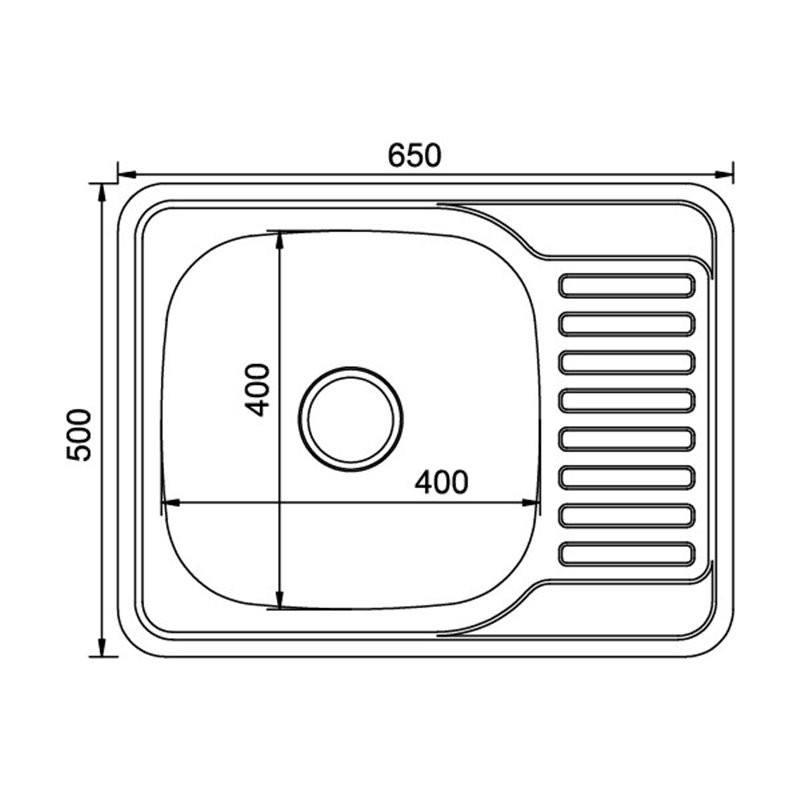 Мойка врезная 50x65 (0,8) лев вып 3 1/2 MIXLINE 18 см с сифоном