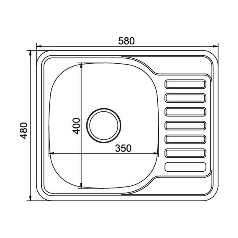 Мойка врезная 48x58 (0,8) прав вып 3 1/2 MIXLINE 18 см с сифоном