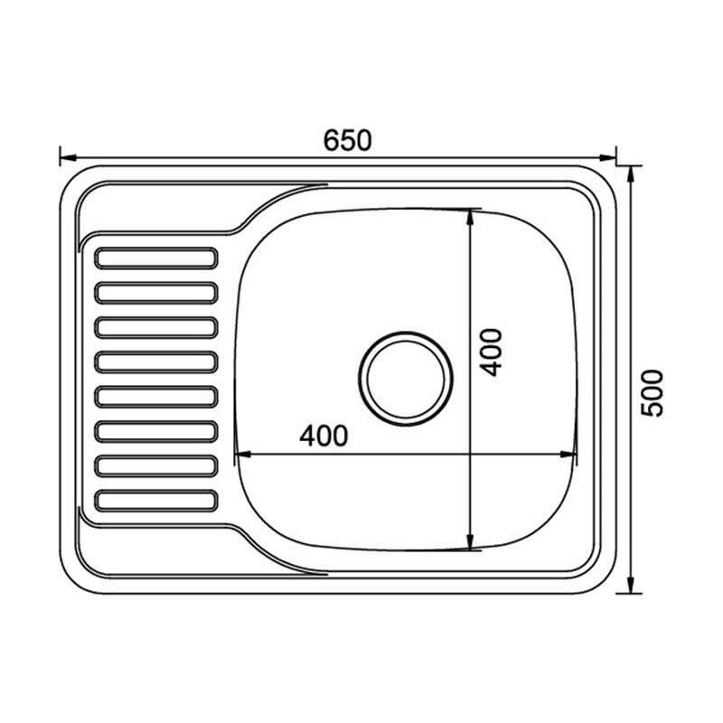 Мойка врезная 50x65 (0,6) прав вып 3 1/2 MIXLINE 16 см с сифоном