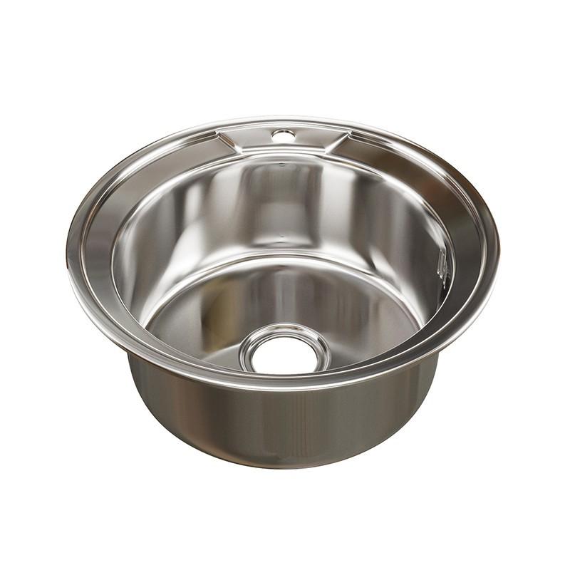 Кухонная мойка Mixline круг d49 (0,6) вып 3 1/2 (глубина чаши 17см) с сифоном