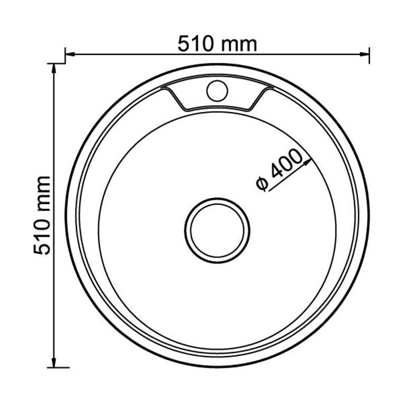 Кухонная мойка Mixline круг d51 (0,8) вып 3 1/2 (глубина чаши 18см) с сифоном ДЕКОР