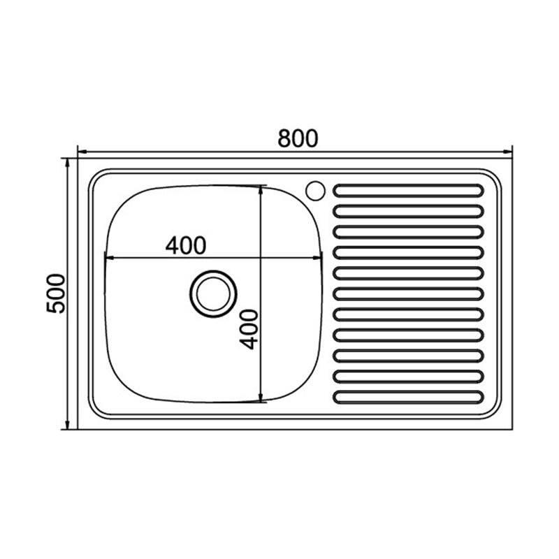 Кухонная мойка Mixline 50x80 (0,4) лев вып 1 1/2 16 см