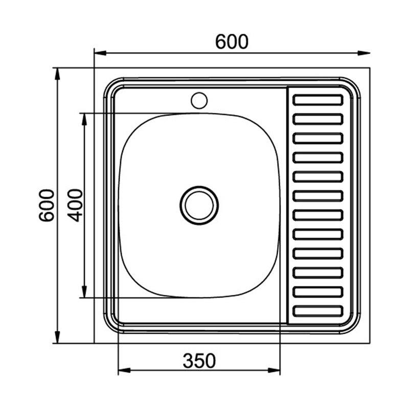 Кухонная мойка Mixline 60x60 (0,4) прав вып 1 1/2 16 см