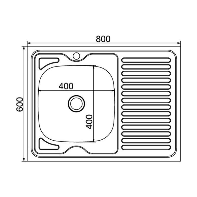 Кухонная мойка Mixline 60x80 (0,4) лев вып 1 1/2 16 см