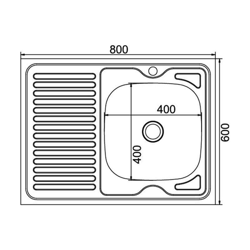 Кухонная мойка Mixline 60x80 (0,4) прав вып 1 1/2 16 см