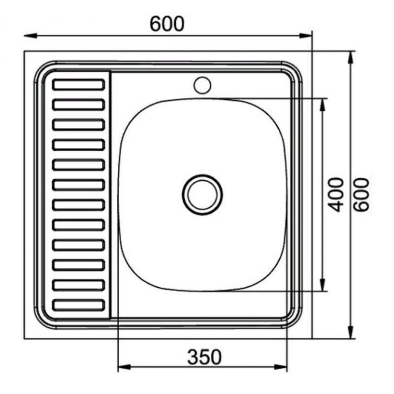 Кухонная мойка Mixline Эконом 60x60 (0,4) прав вып 1 1/2