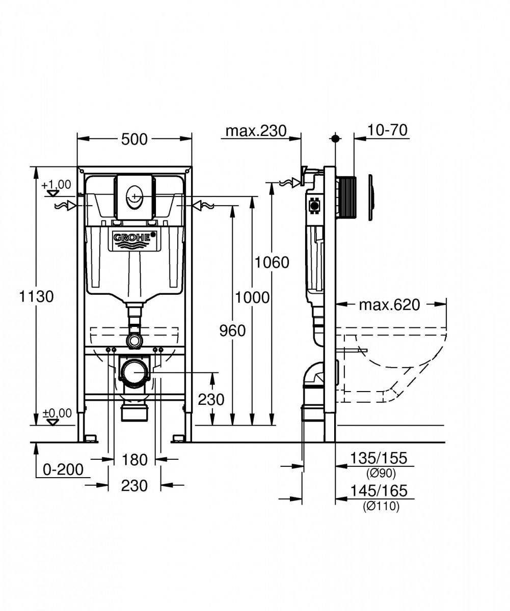 Инсталляция Grohe Rapid SL для подвесного унитаза (38750001)