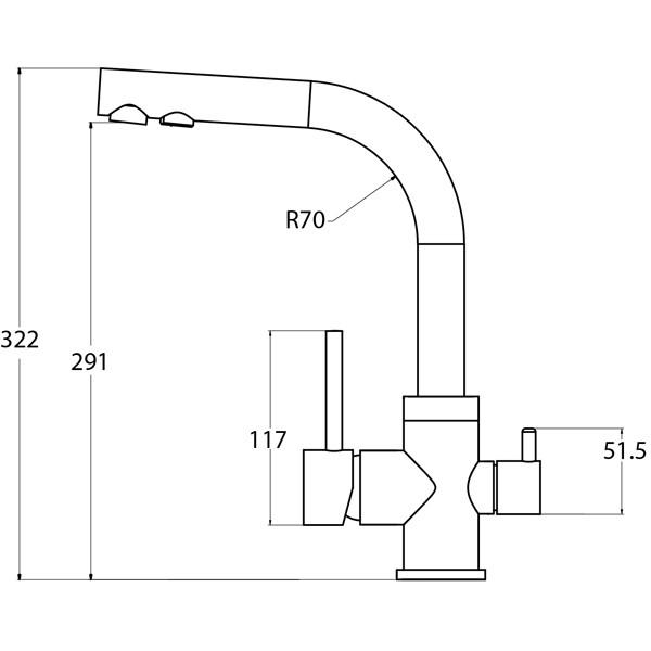 Смеситель для кухни AquaSanita Akvaduo 2663 111 Silica