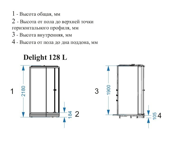 Душевая кабина Domani-Spa Delight 128 high L 120x80 черная тонированная н/п