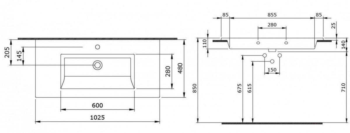 Умывальник подвесной/накладной Bocchi Milano 102x48 1105-001-0126