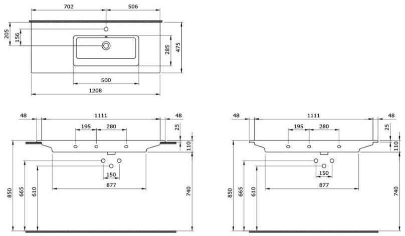 Умывальник подвесной/накладной Bocchi Milano 120x47 1305-001-0126