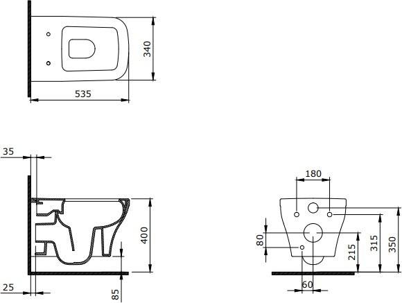 Унитаз подвесной Bocchi Firenze Rimless 1304-001-0129 + сиденье Soft Close A0332-001