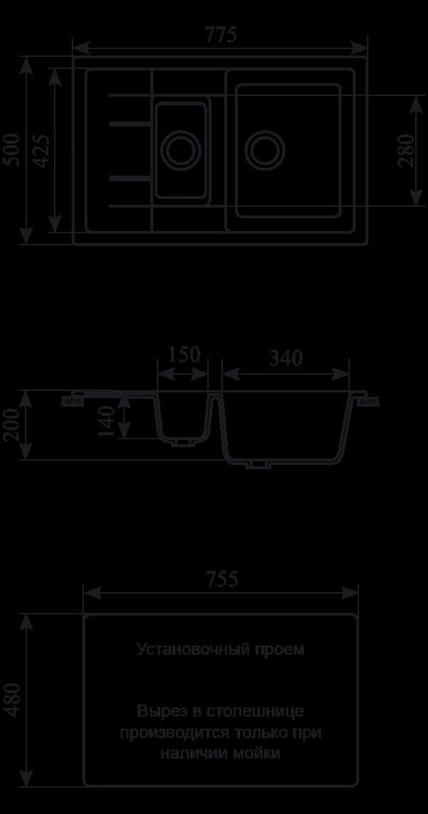 Мойка кухонная GS 21 K 309 темно-серый