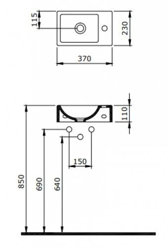 Умывальник Bocchi Milano 37x23 белый матовый левый