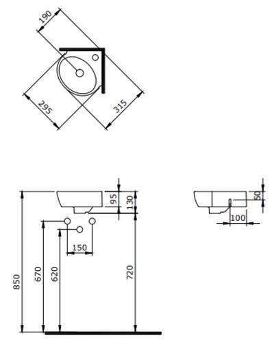 Умывальник угловой Bocchi Taormina Arch 1392-001-0126 29,5x31,5