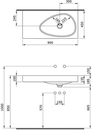 Умывальник подвесной Bocchi Etna 1115-001-0125 90x45