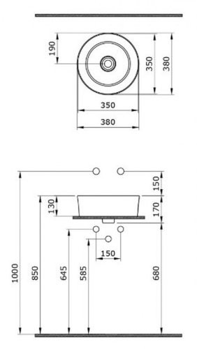 Умывальник накладной Bocchi Vessel 1174-061-0125 38x38