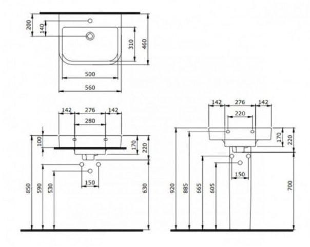 Умывальник подвесной Bocchi Vessel Basin 1175-061-0126 55x45