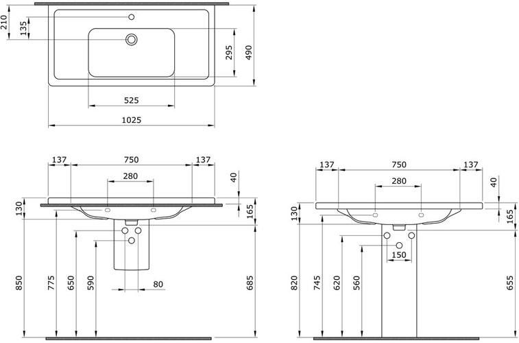 Умывальник подвесной Bocchi Taormina Pro 1118-001-0126 102,5x49