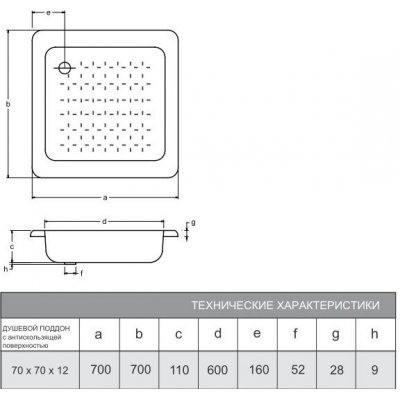 Душевой поддон Smavit Titanium 70x70x12