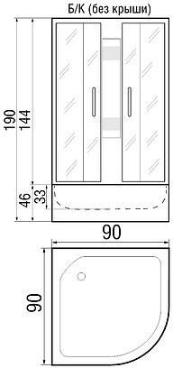 Душевая кабина River Rein Б/К 90/46 МТ 90x90