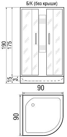 Душевая кабина River Nara Light 90/15 MT без крыши 90х90