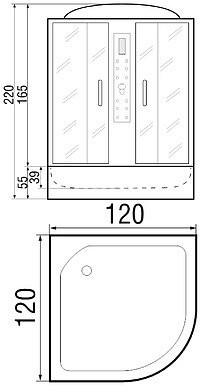 Душевая кабина River Temza 120/120/55 TH 120х120