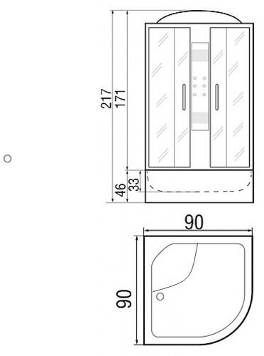 Душевая кабина River Temza 100/46 TH 100х100