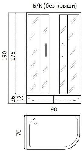 Душевая кабина River Nara 90/70/26 MT R без крыши 90x70