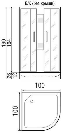 Душевая кабина River Nara 100/26 без крыши 100х100
