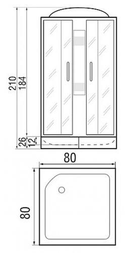 Душевая кабина River Quadro 80/26 80х80