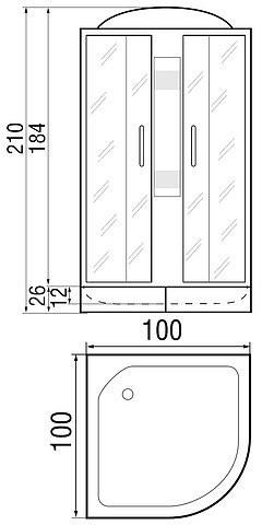 Душевая кабина River Nara 100/26 100х100