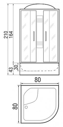 Душевая кабина River Desna 80/43 MT 80х80