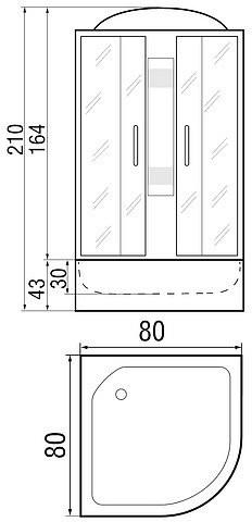 Душевая кабина River Nara 80/43 80х80