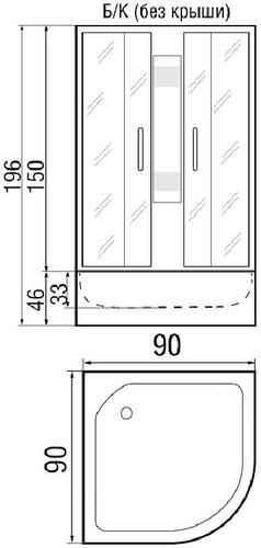 Душевая кабина River Amur 90/46 без крыши 90х90