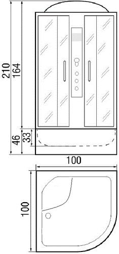 Душевая кабина River Desna 100/46 MT 100х100